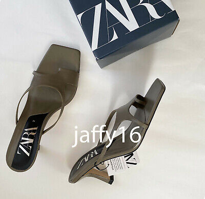 ZARA NEW ASYMMETRIC LEATHER HEELED SANDALS WITH SQUARE TOE KHAKI 35-42 1333/510