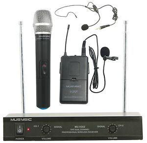 dual channel vhf wireless microphone system with handheld lapel headset. Black Bedroom Furniture Sets. Home Design Ideas
