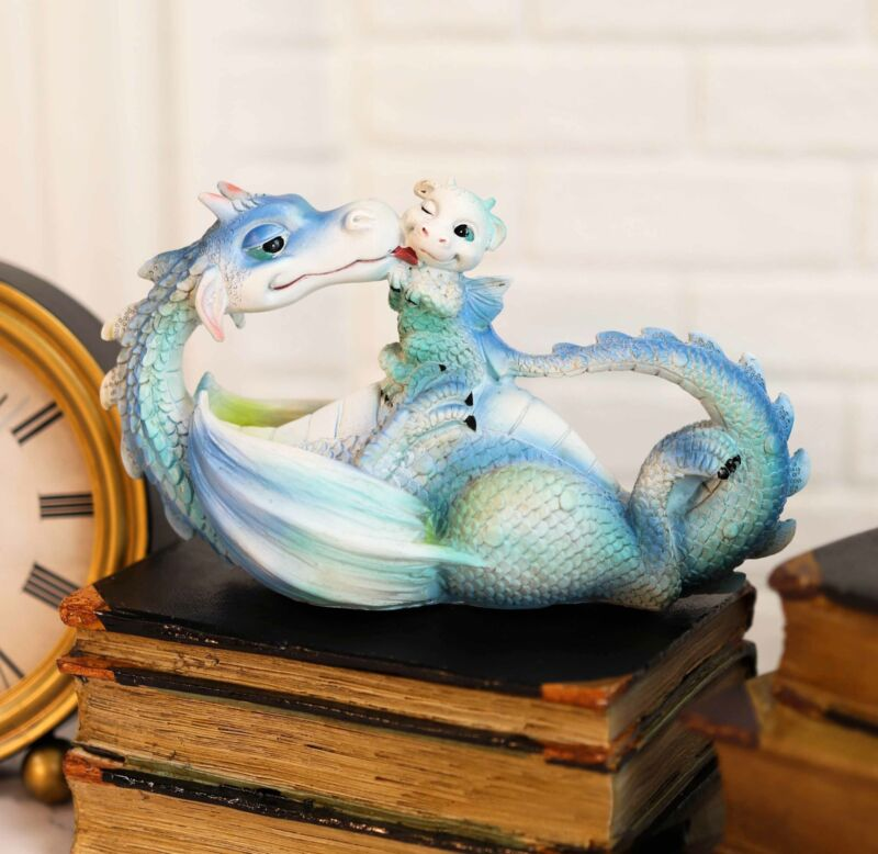 """Morning Bath Whimsical Mother Dragon Licking Baby Wyrmling Family Statue 7.5""""L"""