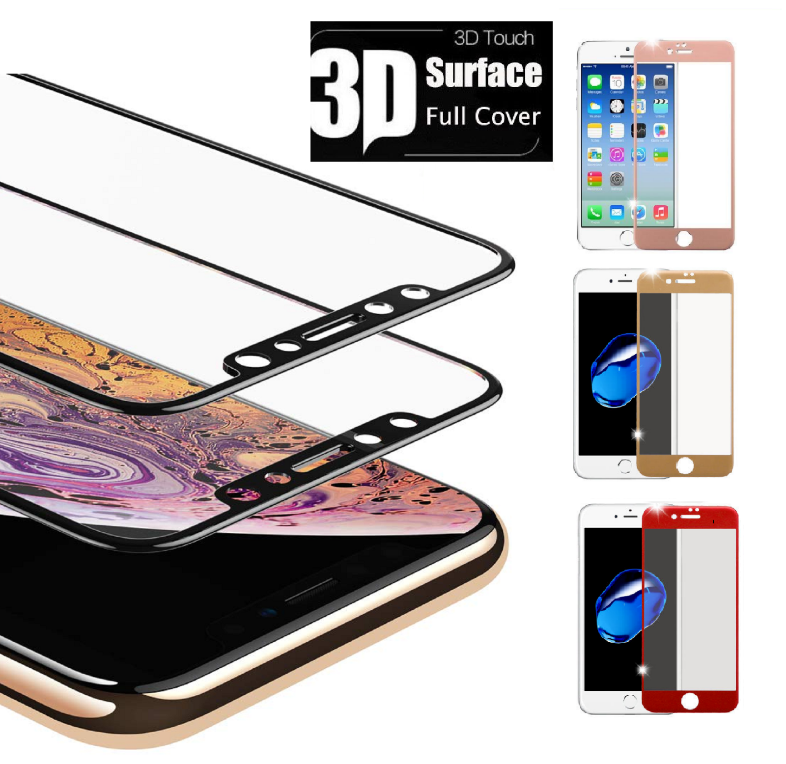For iPhone X 7 8 Plus Xs Max XR Full Coverage Tempered Glass
