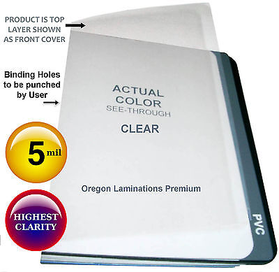 200 Clear Report Covers 5 Mil 8-12 X 11 Unpunched Plastic Binding Sheets