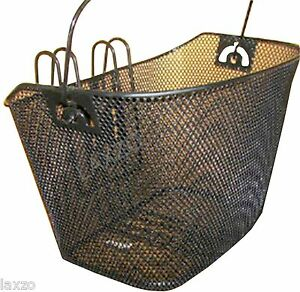 Ladies bicycle bike cycle front wire shopping basket luggage handlebar hook