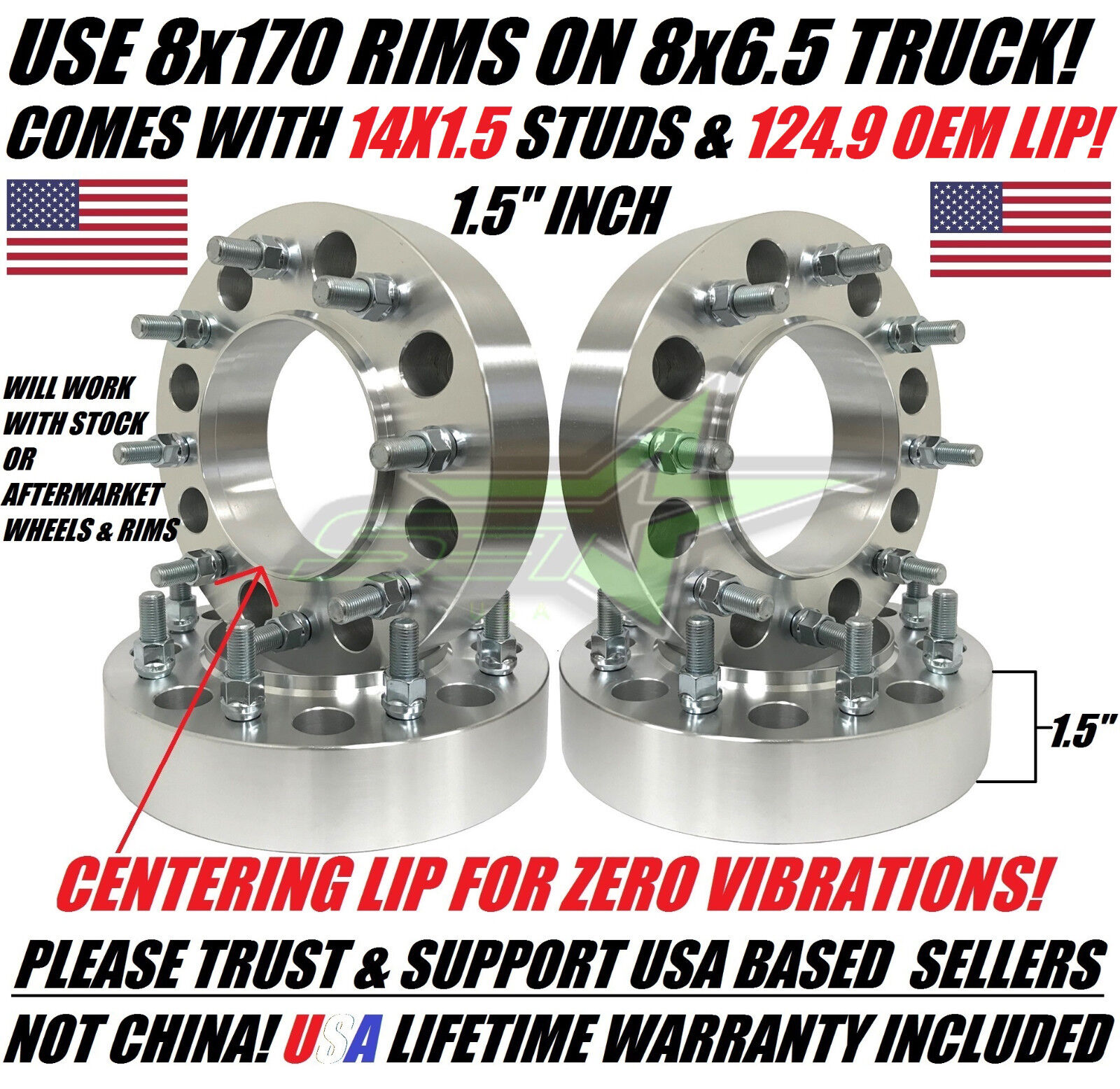 """4 PC  8X6.5 TO 8X170 ALUMINUM CONVERSION ADAPTER CHEVY TO FORD 3/"""" THICK"""