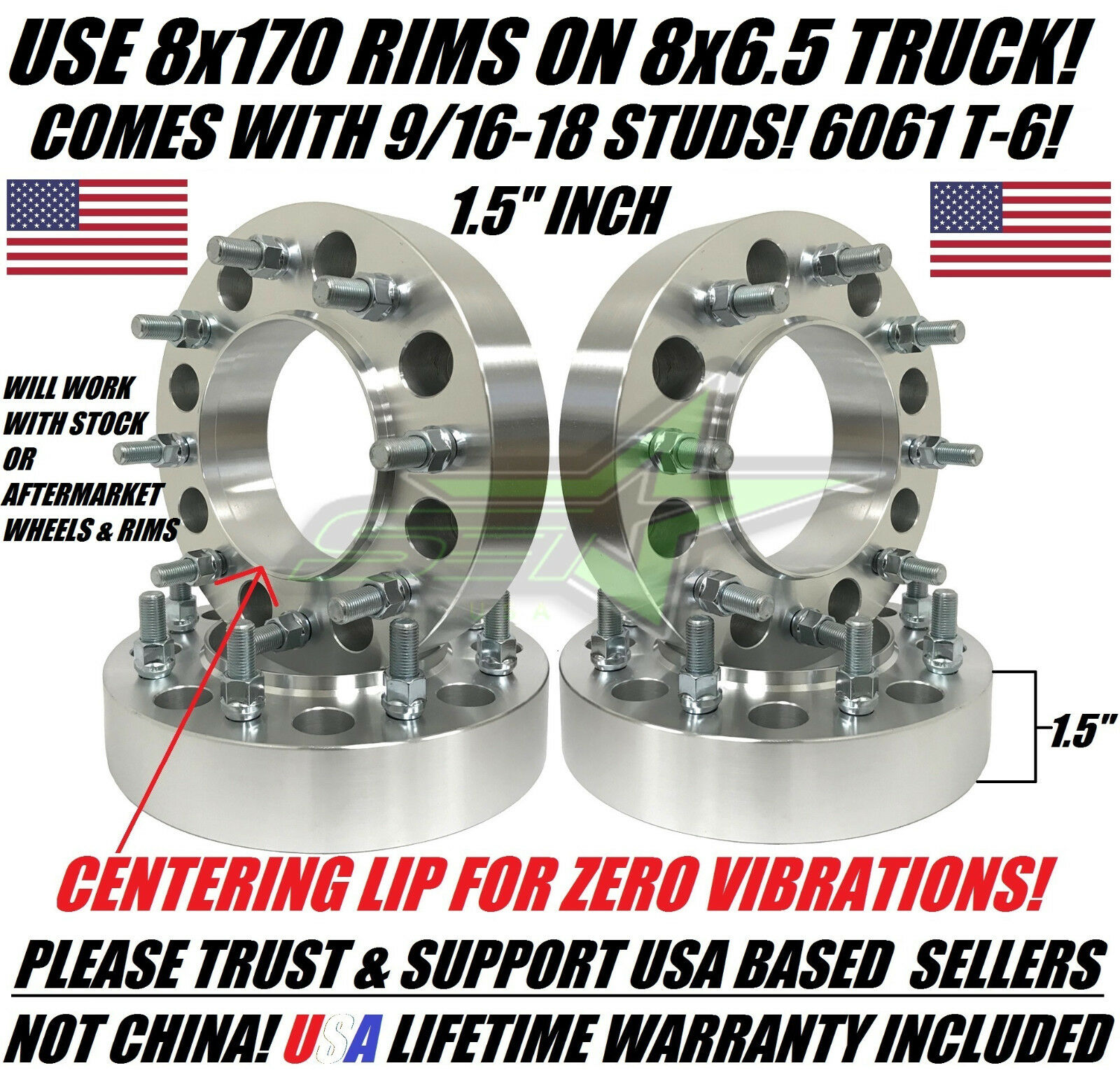 """1.5/"""" Dodge Dually Old Ford 8x6.5 WHEEL SPACERS"""