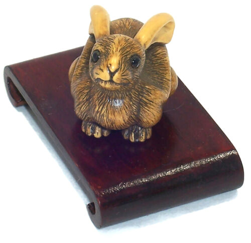 Peabody Essex Museum Replica NETSUKE RABBIT, Hand Carved Resin, with Wood Stand