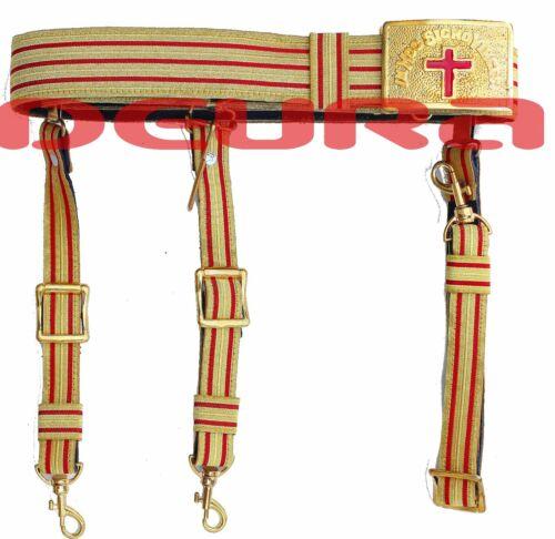 KNIGHTS TEMPLAR GOLDEN & RED Sword Belt & Buckle for Sir Knight Waist Size 50