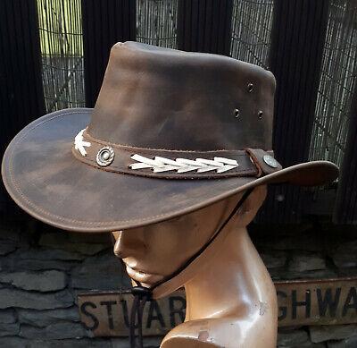 Leder Hut Outback Australien geöltes premium Leder  braun  S M L XL