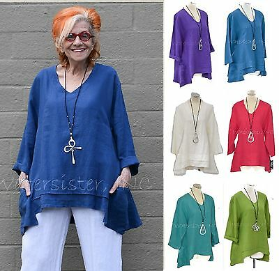 MOSAIC USA 2420 Linen  FLARE POCKET TUNIC 2-Layer Hem Top S M L XL 2016 COLORS 2 Pocket Linen Tunic