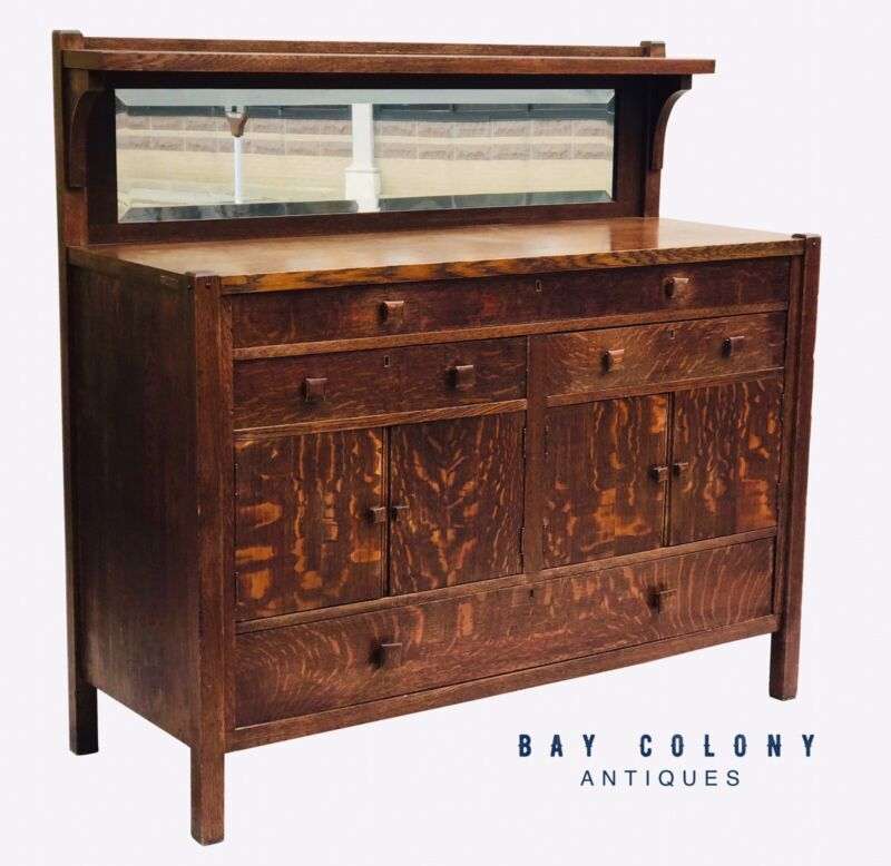 EARLY 20TH C ARTS & CRAFTS / MISSION OAK BEVELED GLASS SIDEBOARD / SERVER