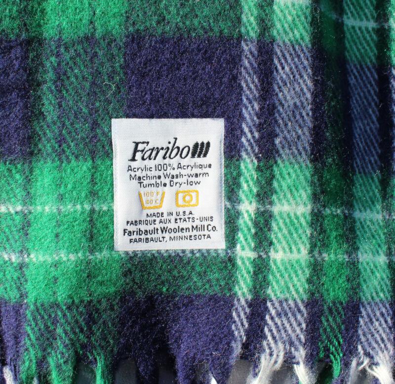 Faribault Woolen Mills Co Blue-Green-White Plaid Tartan Fringed Acrylic Blanket