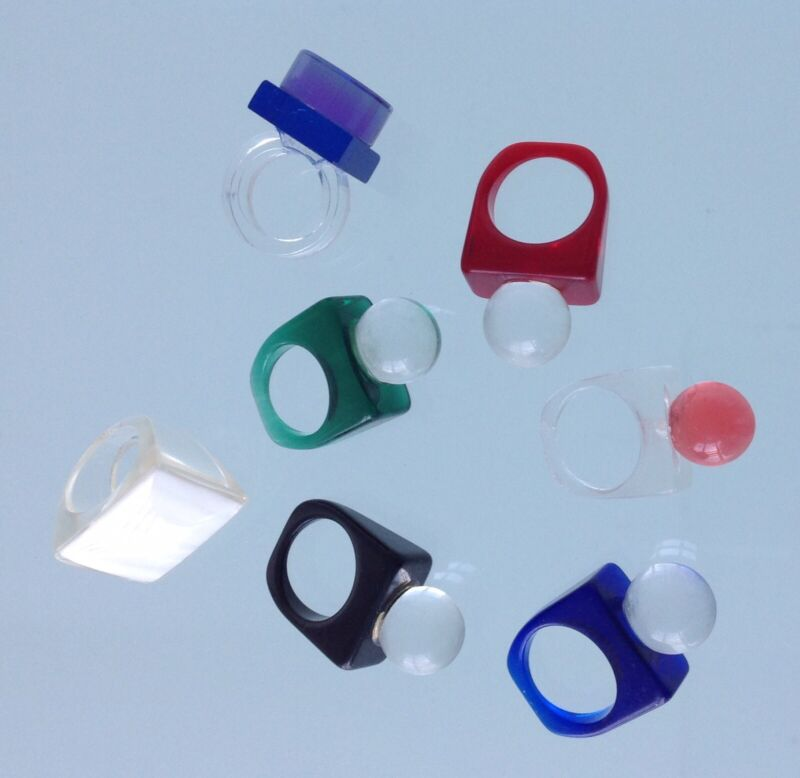 Lot Of 7 60s Mod Pop Art Lucite Ball Vintage Candy Clear Fun Collection Rings