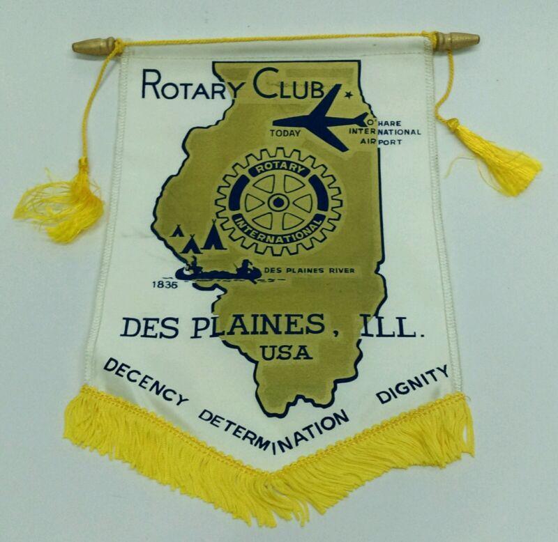 Vintage DES PLAINES ILLINOIS IL USA Rotary International Club banner flag RARE!