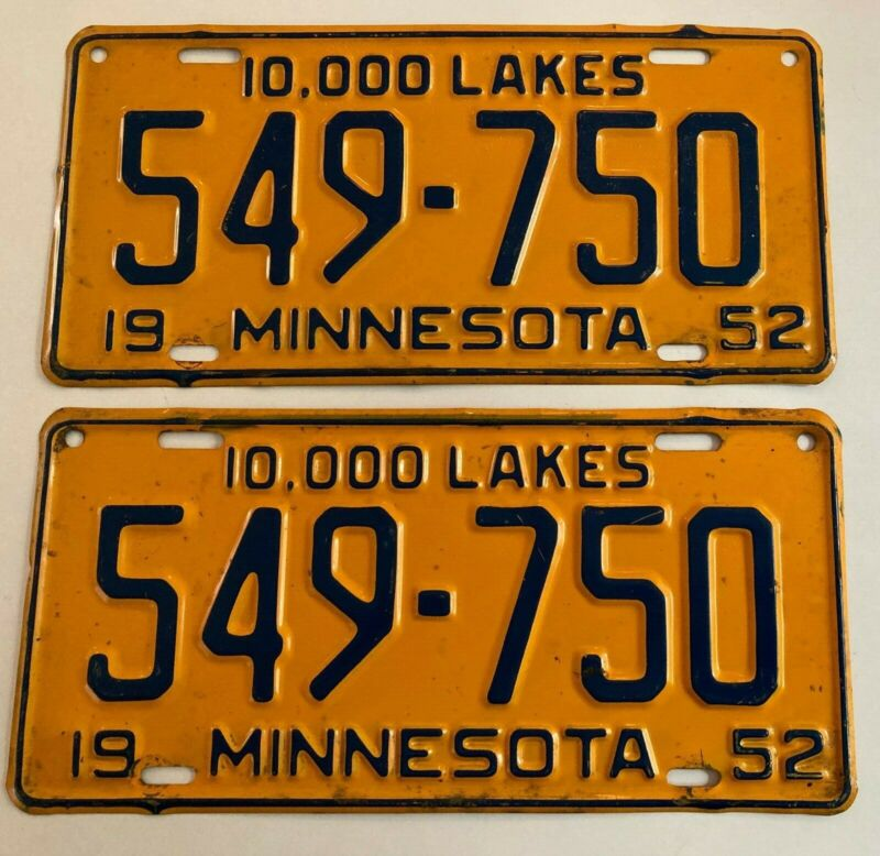 1952 Minnesota License Plate PAIR Plates NICE CONDITION Ford Chevrolet Buick