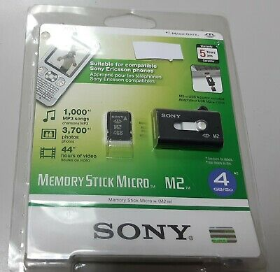 Tarjeta Memory Stick Micro M2 4 Gb Sony con adaptador Usb