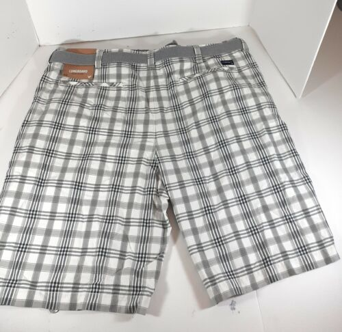 American Eagle Mens White Gray Plaid Long Board Shorts Sz 40