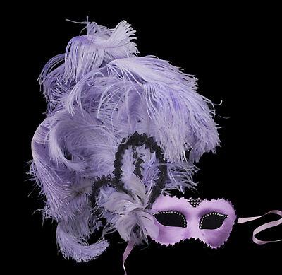 Mask Venice Colombine satin purple to Feathers ostrich Paper mache 22432