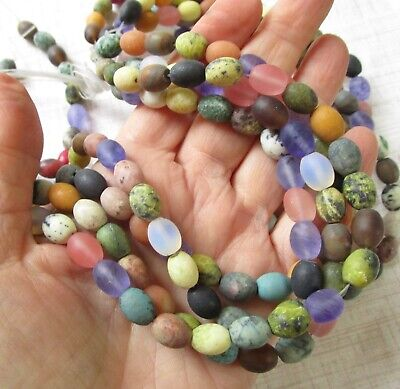 Rainbow Matte Gemstone Beads  Barrel 8mm x 10mm Jasper Agate Quartz  1 Strand