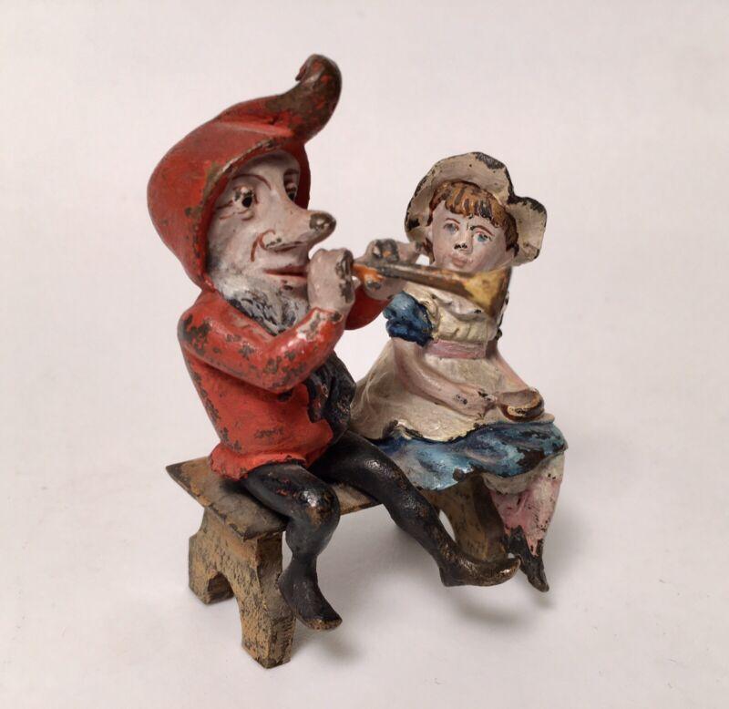 Old Franz Bergmann Vienna DWARF Gnome PLAYING Horn W/ Child Cold Painted Bronze