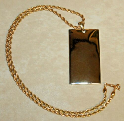 Vintage Signed Napier Gold Tone Rectangular Pendant Necklace Mid Century Modern