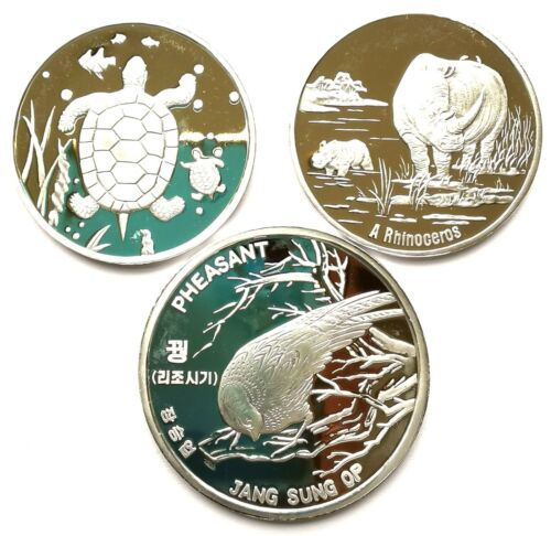 L7010, Korean 3 Pcs Coins, Wild Animals Pheasant, Rhinocero, Turtle, Alu 2015