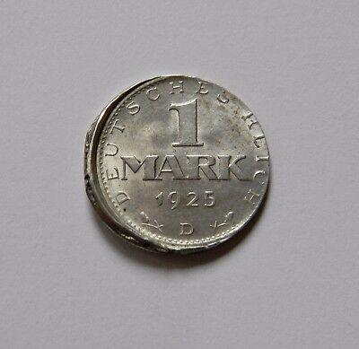 WEIMAR: 1 Mark 1925 D J. 311, stempelglanz, DEZENTRIERT !!! EXTREM SELTEN !!!