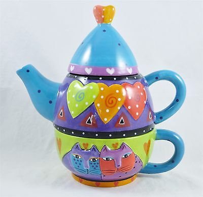 Laurel Burch Cats Hearts Teapot Cup Stacked Tea For One Ganz