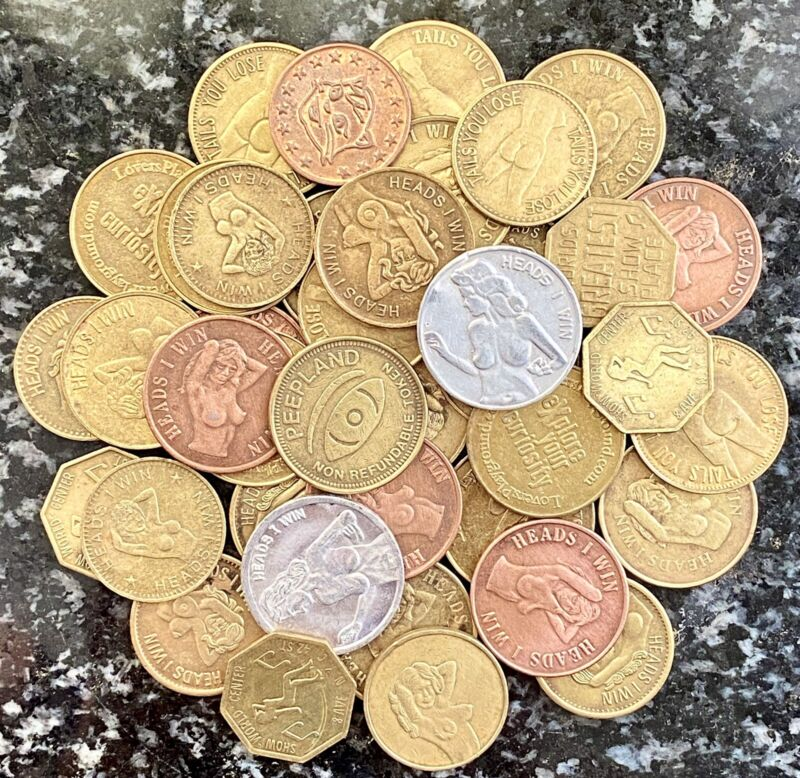 LOT Of 40 VINTAGE ADULT PEEP SHOW TOKENS & HEADS I WIN/TAILS U LOSE SEXY COINS