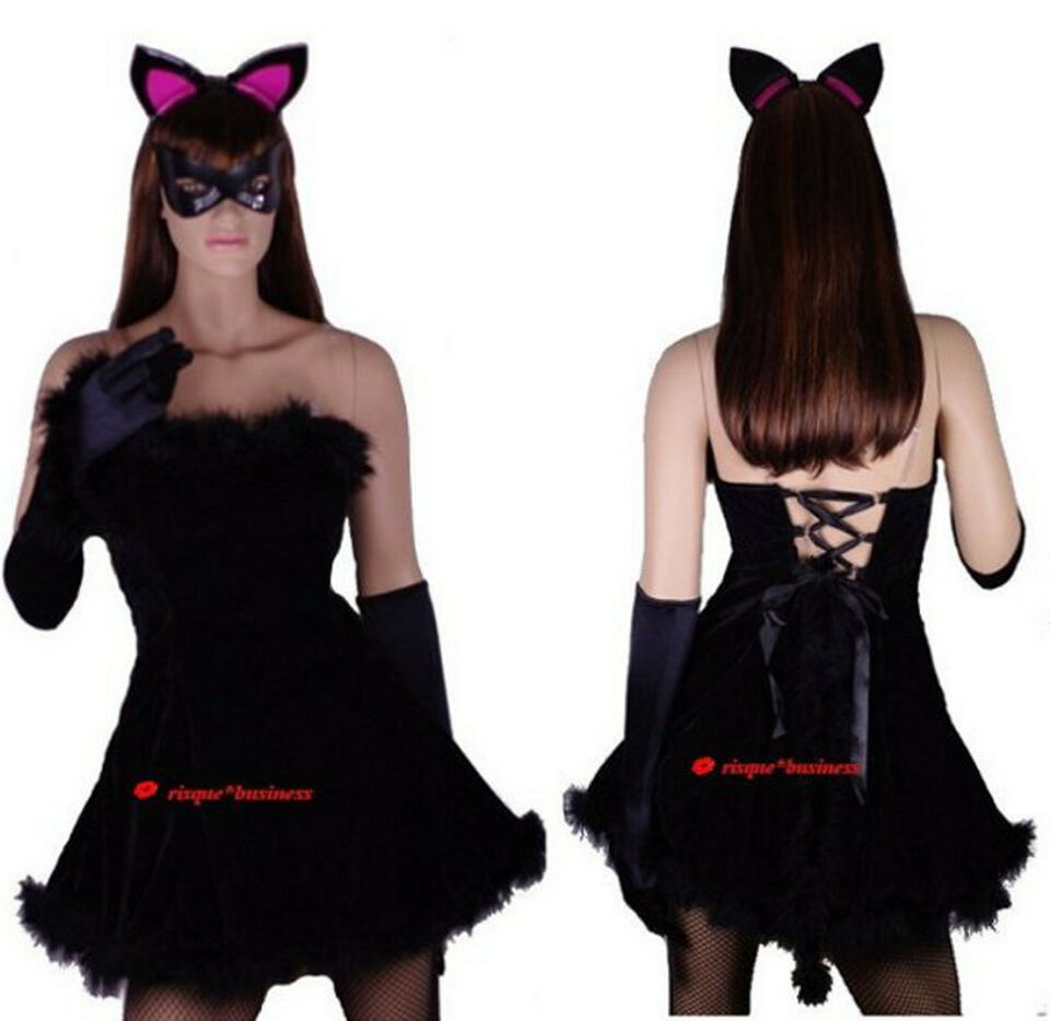 Black Kitty Pussy Cat Catwoman Fancy Dress Halloween Costume - 8 10 12 14 16