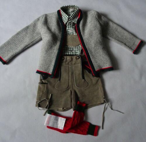 German Austrian  Boys Gray 4 pc. Lederhosen Outfit 5 years