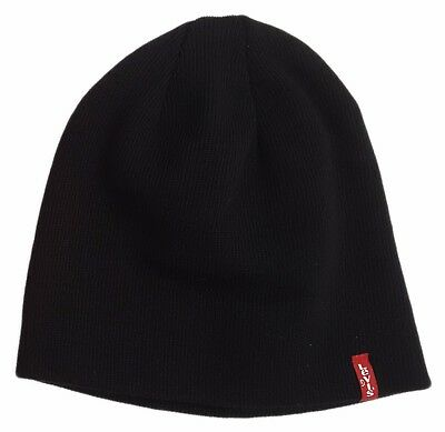 Red Classic Beanie (MENS LEVIS CLASSIC RED TAB PULL ON BEANIE / WOOLY HAT OTIS - BLACK)