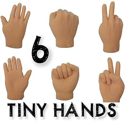 6 Tiny Hand Finger Trick Realistic Soft Puppet Mini GaG - Rock Paper Scissor Toy