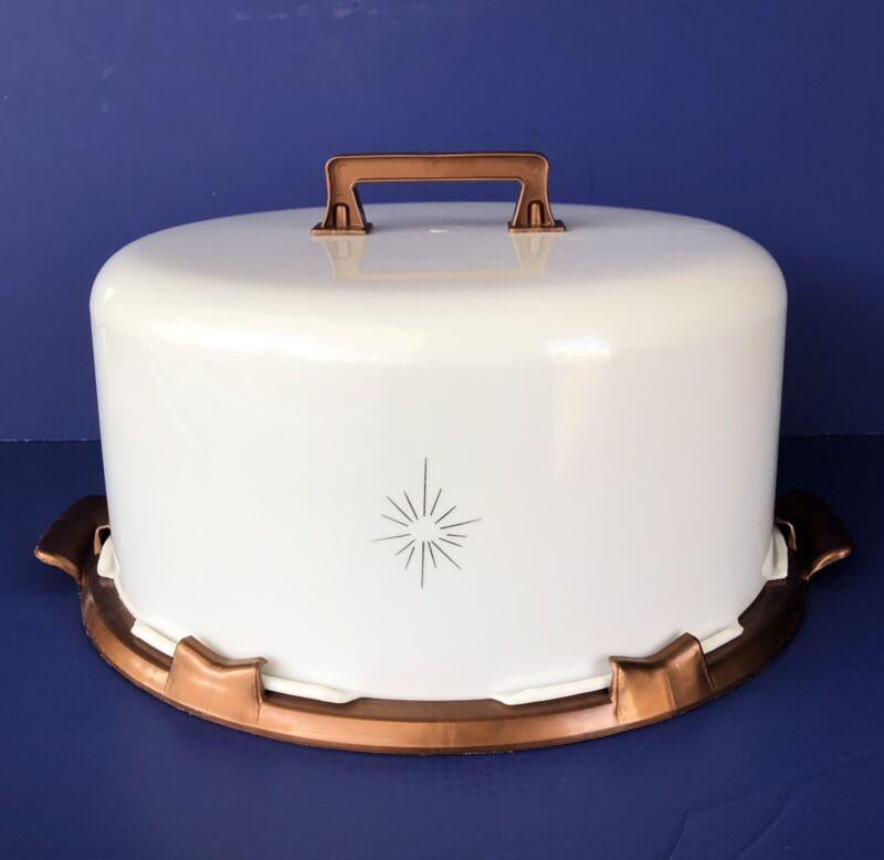 Vintage Mid Century Modern Plastic Cake Carrier Saver Atomic Star Copper & White