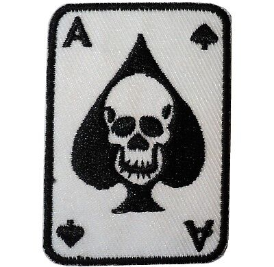 Ace of Spades Skull Crossbones Death Iron/ Sew On Embroidered Cloth Biker Patch (Ace Of Spades Clothing)