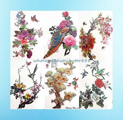 "wholesale tattoos 6 sheets flower bird 8.25"" large temporary arm tattoo"