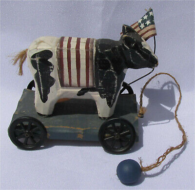 Patriotic cow pull toy with American Flag - Wooden Folk Art (Wooden Cow Pull Toy)