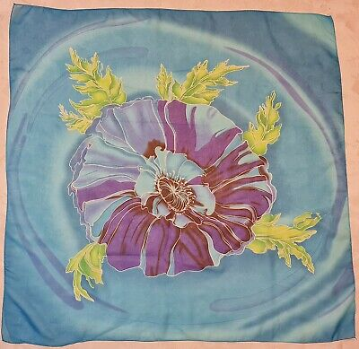 Vintage Scarf Styles -1920s to 1960s SCARF VINTAGE AUTHENTIC FLORAL ART BLUE GREEN CHIFFON 36