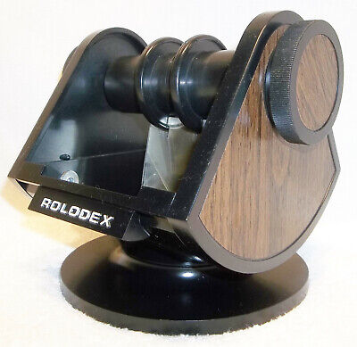 Mid Century 1970s Rolodex Sw 24 Wood Grain Swivel Rotary File Usa