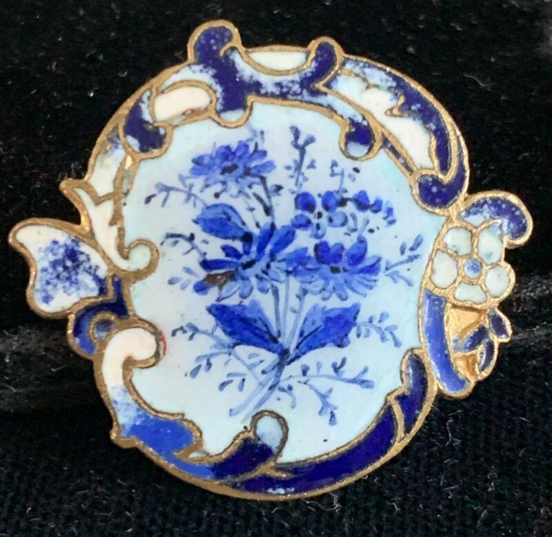 Antique Enamel Button With Beautiful Blue Floral Bouquet