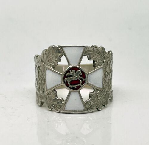 K.FABERGE Russian Imperial 88 Silver Enamel Ring St.George Cross