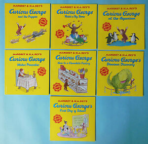 Lot 7 Curious George Monkey Paperback Children's Book Set H.A. Rey NEW
