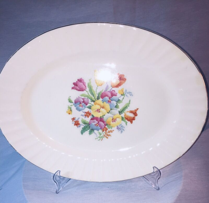"""Edwin Knowles Oval China Platter Dish Needlepoint Looking Flowers 13"""" X 10.25"""""""