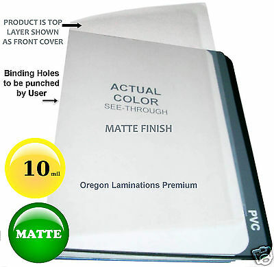 10 Mil Matte Clear Report Covers 8-12 X 11 100 Plain Plastic Binding Sheets