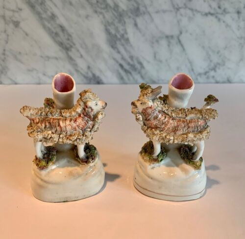 Pair Antique Staffordshire Diminutive Goat Spill Vases 19th C