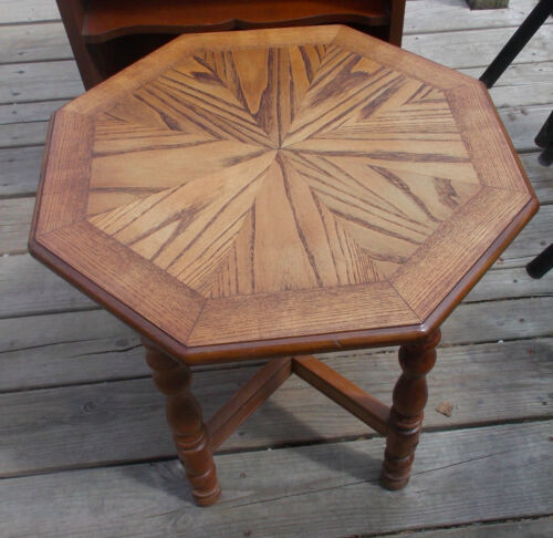 Oak Hexagon End Table / Side Table  (RP)