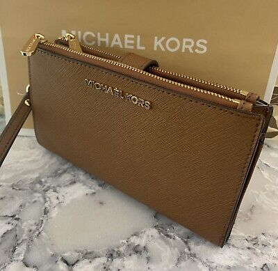 NEW Michael Kors Jet Set Travel Leather Double Zip Wristlet/Wallet Luggage