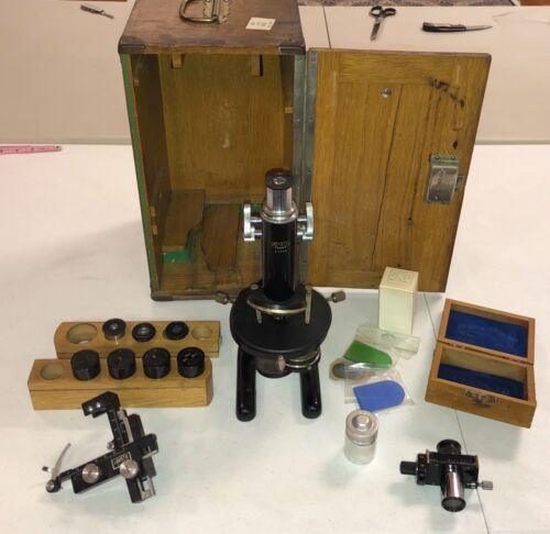 Antique Srb Stys Praha Microscope W/ Lenses Extras and Original Box Collectors