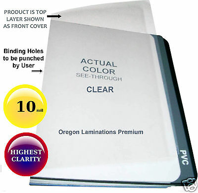 10 Mil Clear Report Covers 8-12 X 11 100 Plastic Binding Sheets Unpunched