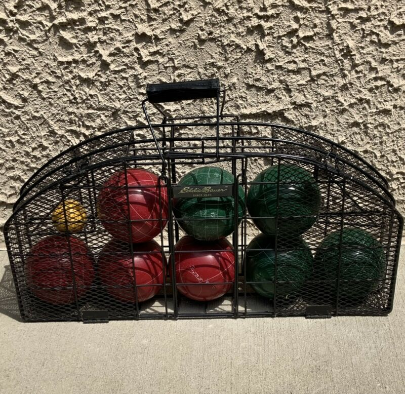 Vintage Eddie Bauer Bocce Ball Competition Set Metal Wire Carrying Case