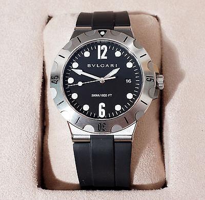 BVLGARI DIAGONO SCUBA  Stainless Steel Watch / Black Rubber Strap 41mm DP41BSVSD