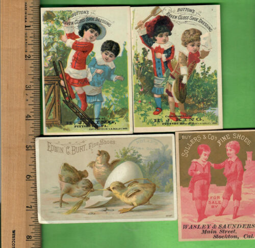 *VICTORIAN TRADE CARDS SHOES AND SHOE DRESSING 1880 CALENDAR LOT OF 4*